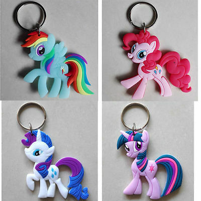New 4pcs My Little Pony Friendship Is Magic Double sided 8cm Plastic Keychain