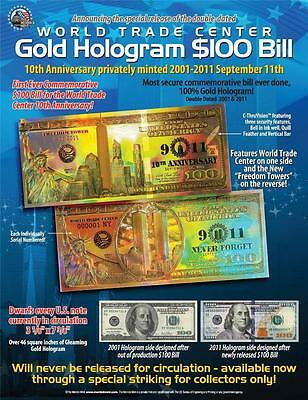 WORLD TRADE CENTER Gold Hologram Card FREEDOM TOWER Tribute Certificate 9/11 WTC