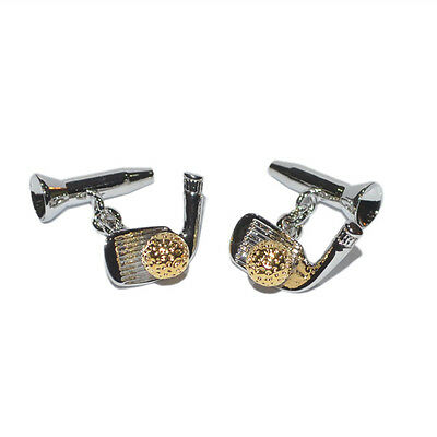 Silver And Gold Golf Clubs and Ball Cufflinks Lapel Chain Cuff Links Golfer New