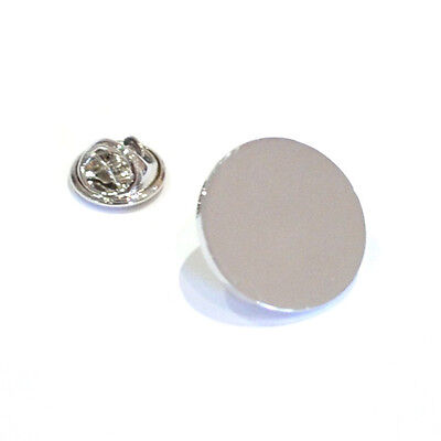 Silver Plain Lapel Pin Badge Simple Round Design Stylish Work Suit Gift New