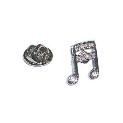 Silver Musical Note Lapel Pin Badge With Crystal Encrusted Detailing Music New