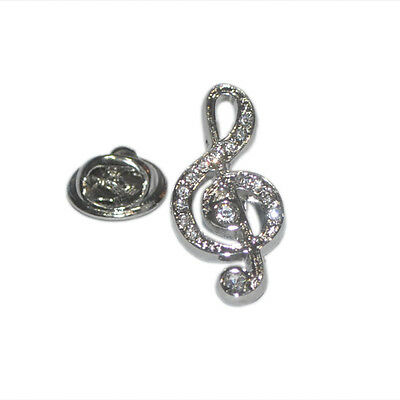 Silver Treble Clef Lapel Pin Badge With Crystal Encrusted Detailing Music New