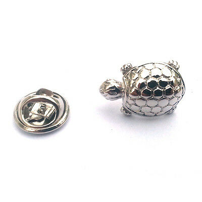 Silver Tortoise Lapel Pin Badge Turtle Reptile Turtles Badges Tortoises Gift New