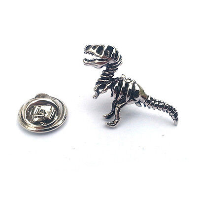 Silver T Rex Dinosaur Skeleton Lapel Pin Badge Prehistoric Dinosaurs Badges New