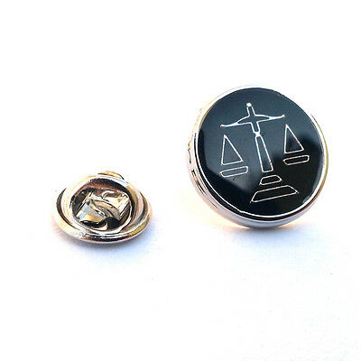 Black Scales of Justice Design Lapel Pin Badge Black Circle Shape Badges New