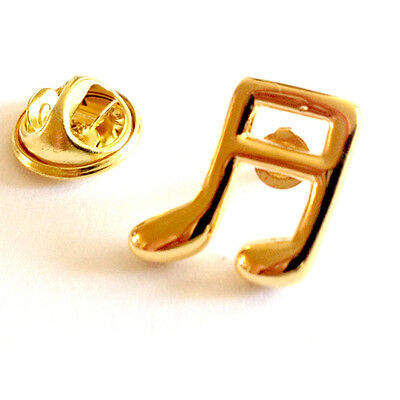 Gold Plated Quaver Music Note Lapel Pin Badge Musical Musician Badges Gift New