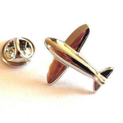 Silver Modern Plane Shaped Lapel Pin Badge Aeroplane Pilot Flying Badges New