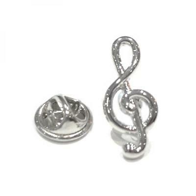 Silver Plated Treble Clef Lapel Pin Badge Music Notes Musicians Badges Gift New
