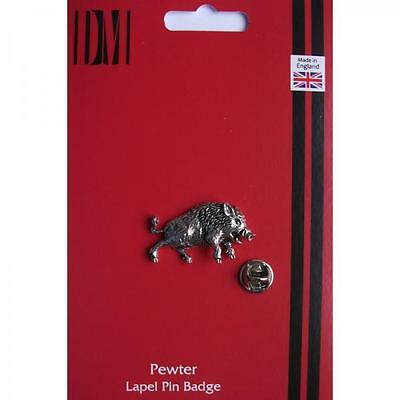 Silver Wild Boar Design Pewter Lapel Pin Badge Handmade In England Badges New
