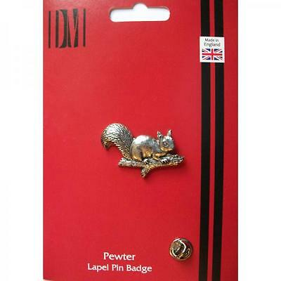 Silver Squirrel Design Pewter Lapel Pin Badge Handmade In England Badges New