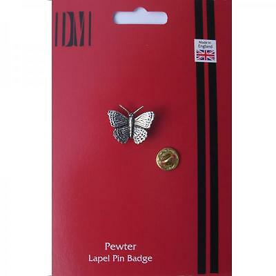 Silver Butterfly Design Pewter Lapel Pin Badge Handmade In England Badges New