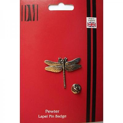 Silver Dragonfly Design Pewter Lapel Pin Badge Handmade In England Badges New