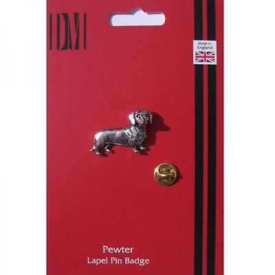 Silver Dachshund Dog Pet Design Pewter Lapel Pin Badge Handmade In England New