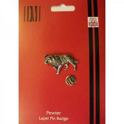 Silver Border Collie Dog Design Pewter Lapel Pin Badge Handmade In England New