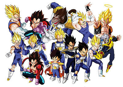 Sticker Poster Manga Dragon Ball Z. Vegeta Story Evolution Saga Dbz   . A4