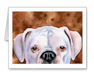 WHITE BOXER DOG GREETING NOTE PARTY INVITE THANK YOU BIRTHDAY ANNIVERSARY CARDS
