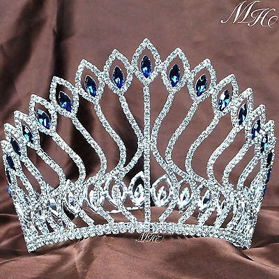 Large Contoured Pageant Tiara Blue Rhinestone Crown Wedding Prom Party Costumes