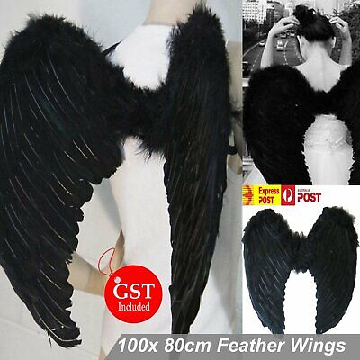 100cm X 80cm Black Feather Wings Extra Large Angel Fairy Dress Costume Halloween