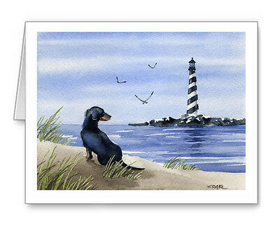 DACHSHUND AT THE BEACH Set of 10 Note Cards With Envelopes