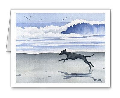 Set of 10 ITALIAN GREYHOUND AT THE BEACH Note Cards With Envelopes