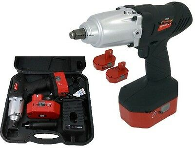 """Heavy Duty 24V 1/2"""" Cordless Impact Wrench Ratchet & 2 Batteries In Case"""