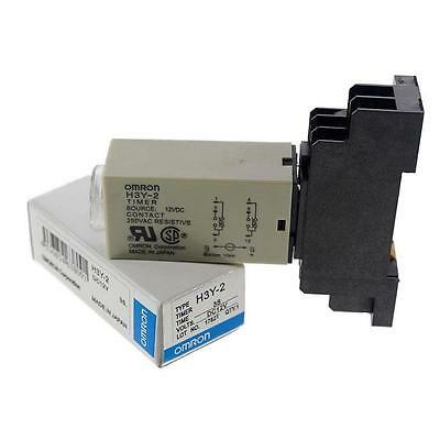 DC 12V Delay Timer Time Relay Electricity 0~60 Minute H3Y-2 & Base New