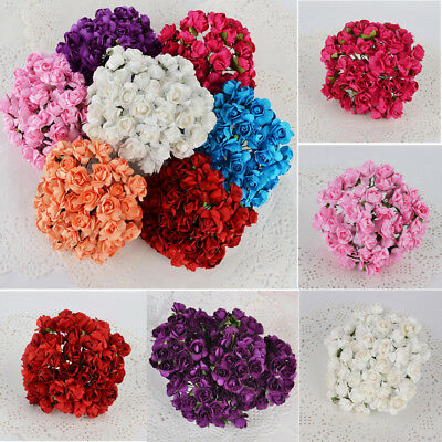 144pcs/Pack Mini Artificial Paper Rose Buds Flowers DIY Craft for Wedding 8Color