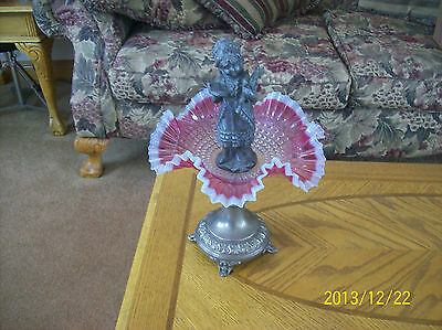 COMPOTE ANTIQUE BEAUTIFUL WITH PEWTER CHILD STATUE CRANBERRY GLASS BOWL FOOTED