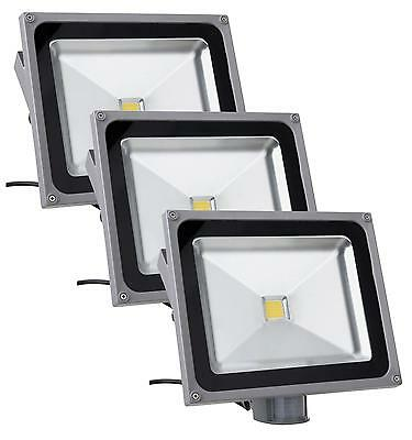 3x LUMIERE PROJECTEUR LED LAMPE 4500K SENSEUR MOUVEMENT D'EXTERIEUR IP65 50W SET
