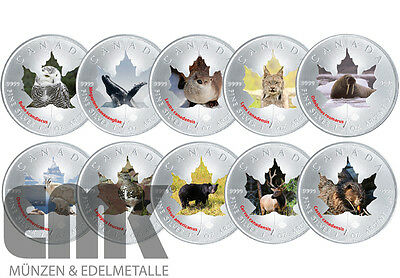 "Kanada - Maple Leaf ""Wildlife-Serie II."" Satz in Farbe - 10 x 5 Dollar 2015"