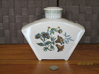 """Decanter Lon Valley China USA colorful floral ornate lid design 6"""" tall 7"""" wide"""