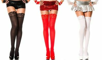 OPAQUE LACE TOP Thigh High Stockings 5 COLORS O/S & PLUS