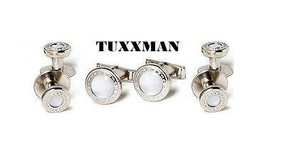New Silver Pearl White Cufflinks Studs Western Bullet Tails Tuxedo Shirt