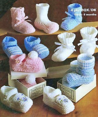 VINTAGE KNITTING PATTERN BABY SHOES & BOOTEES 8 pairs to make