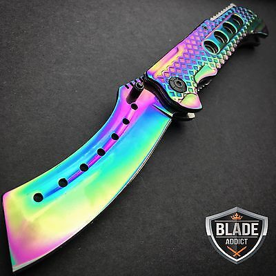"9"" TACTICAL Razor Spring Assisted Open Folding Pocket Knife RAINBOW CLEAVER New"