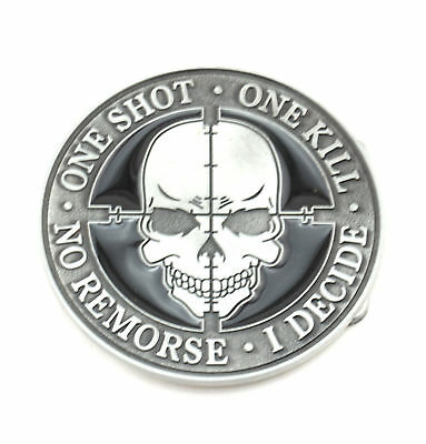 One Shot, One Kill Sniper Skull Metal Fashion Belt Buckle