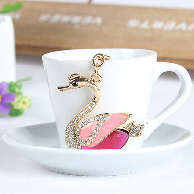 Goose Swan Duck Crown Lovely Pendent Charm Crystal Purse Bag Key Ring Creative