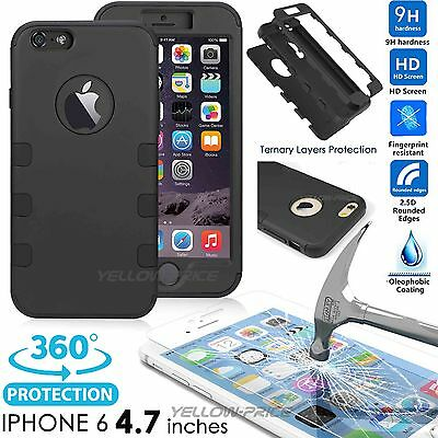 """iPhone 6 Glass Screen Protector (4.7"""")+3 in 1 Heavy Duty Full body Coverage Case"""