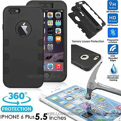 iPhone 6 Plus Glass Screen Protector +3 in 1 Heavy Duty Full body Coverage Case