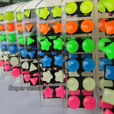 12Pairs of Fashion Variety Shaped Glow in the Dark Light Party Stud Earrings