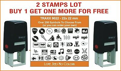 Self Inking Stamp Loyalty Card Music Vinyl FUN School Bar Cafe Personal 2 LOT