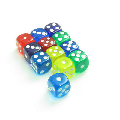SET OF SIX ,6 sided,playing dice,transparent coloured , game play ,board games