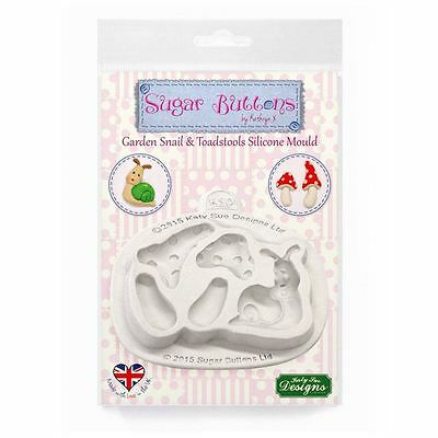 Sugar Buttons Cupcake Fondant Embellishment Mould: Garden Snail & Toadstools