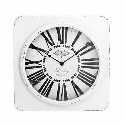 White Antique Square Wall Clock with Distressed Frame - Vintage Look