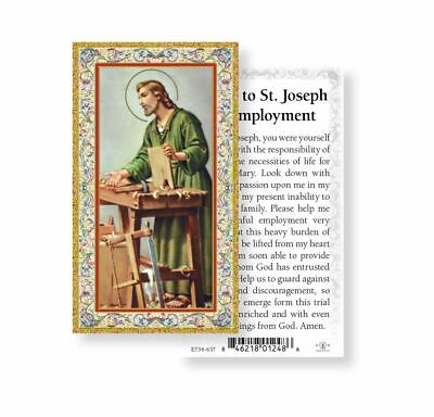 Saint St. Joseph with Prayer for Employment - gold trim- Paperstock Holy Card