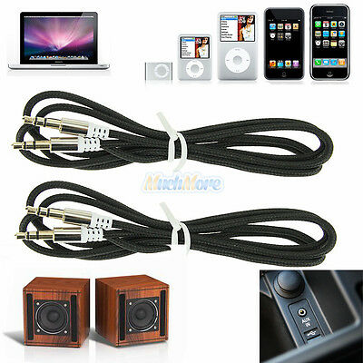 2x 3.5mm Male to Male Car Aux Auxiliary Cord Stereo Audio Cable for Phone Black