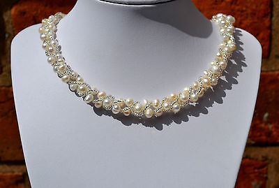 """Sterling Silver 925 Genuine FreshWater White Pearl & Beads Wrap 16.5"""" Necklace"""