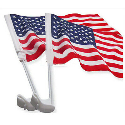 "2pcs 18""x12"" Car Flag USA American National Flags Window Banner Plastic Pole"