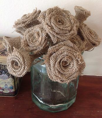 Hessian Roses Stemmed Handmade Bouquets Weddings x 9