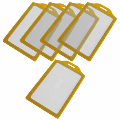 Yellow Clear Plastic Vertical Business Working ID Badge Card Holder 5pcs
